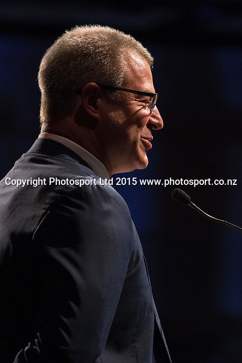 Head Coach Dean Vickerman speaks at the SkyCity Breakers Awards, 2014-15, SkyCity Convention Centre, Auckland, New Zealand, Friday, March 20, 2015. Copyright photo: David Rowland / www.photosport.co.nz