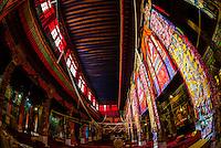 Assembly hall, Sera Monastery, near Lhasa, TIbet (Xizang), China.