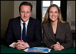 Leader of the Conservative Party David Cameron with Louise Mensch in his office when he was Leader of the Conservative Party, Monday  January 18, 2010. Photo By Andrew Parsons/i-Images...