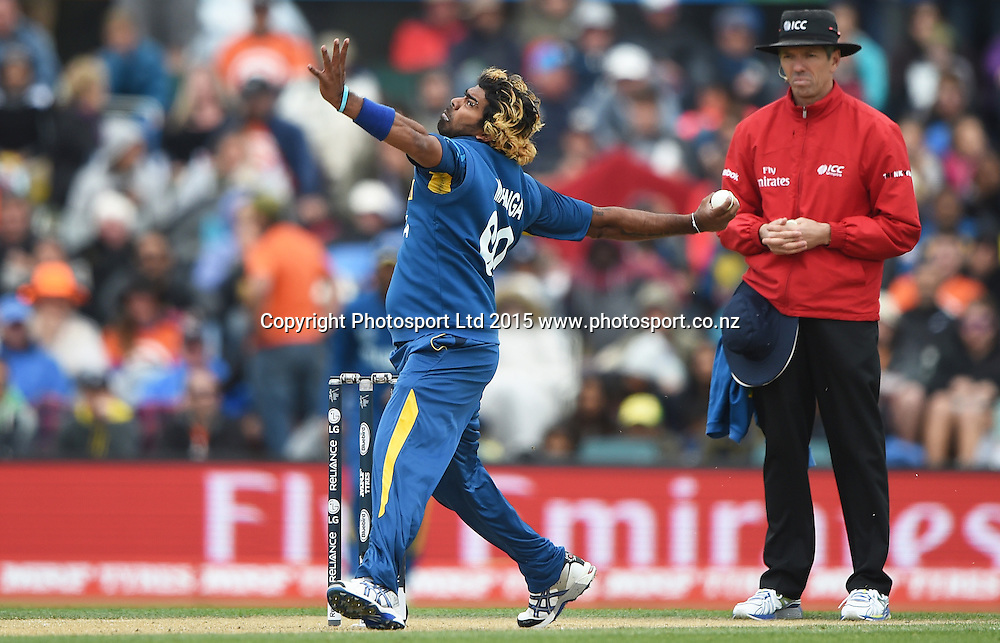 Lasith Malinga bowling during the ICC Cricket World Cup match between New Zealand and Sri Lanka at Hagley Oval in Christchurch, New Zealand. Saturday 14 February 2015. Copyright Photo: Andrew Cornaga / www.Photosport.co.nz