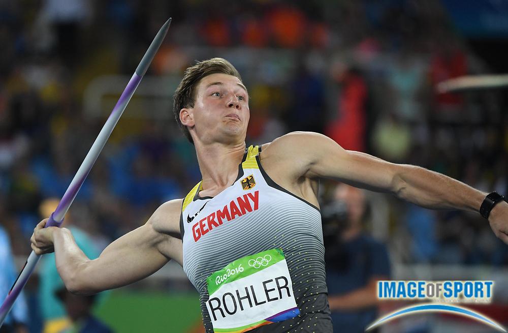 Aug 17, 2016; Rio de Janeiro, Brazil; Thomas Rohler (GER) during the men's javelin throw qualifying round in the Rio 2016 Summer Olympic Games at Estadio Olimpico Joao Havelange.