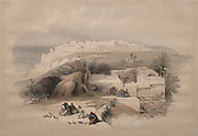 Jaffa, Looking North 1839 Color lithograph by David Roberts (1796-1864). An engraving reprint by Louis Haghe was published in a the book 'The Holy Land, Syria, Idumea, Arabia, Egypt and Nubia. in 1855 by D. Appleton & Co., 346 & 348 Broadway in New York.