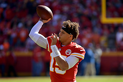 Oct 28, 2018; Kansas City, MO, USA; Kansas City Chiefs quarterback Patrick Mahomes (15) throws a pass just before kickoff against the Denver Broncos at Arrowhead Stadium. Mandatory Credit: Denny Medley-USA TODAY Sports