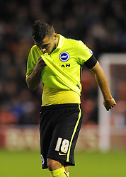 Jake Forster-Caskey of Brighton & Hove Albion cuts a dejected figure - Mandatory byline: Dougie Allward/JMP - 07966386802 - 25/08/2015 - FOOTBALL - Bescot Stadium -Walsall,England - Walsall v Brighton - Capital One Cup - Second Round