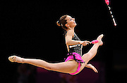 11.08.2012. London, England.  Rythmic Gymnastics Final Joanna Mitrosz POL  KANAEVA Rus took gold, DMITRIEVA Rus took silver and CHARKASHYNA BLR took bronze.  2012 London Olympic Games.