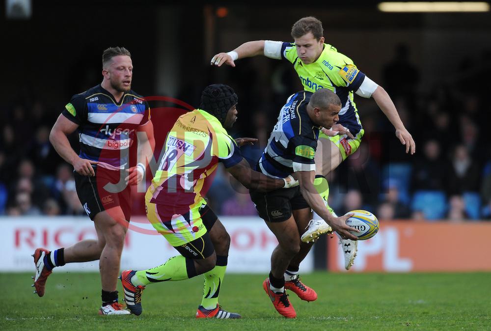 Will Addison goes in on Jonathen Joseph of Bath Rugby.  - Mandatory by-line: Alex Davidson/JMP - 23/04/2016 - RUGBY - Recreation Ground - Bath, England - Bath Rugby v Sale Sharks - Aviva Premiership