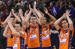 Team of ACH: Mitja Gasparini, Matija Plesko, Alen Pajenk, Delano Thomas and Rok Satler after 8th final volleyball match of CEV Indesit Champions League Men 2008/2009 between ACH Volley Bled (SLO) and Zenit Kazan (RUS), on February 12, 2009 in Hall Tivoli, Ljubljana, Slovenia. (Photo by Vid Ponikvar / Sportida)