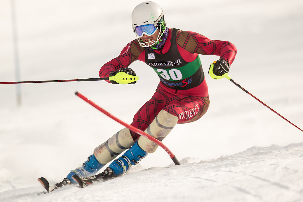Nicholas Stenicka of Saint Lawrence University, skis during the second  run of the men's slalom at the University of Vermont Carnival at Burke Mountain on January 26, 2014 in East Burke, VT. (Dustin Satloff/EISA)