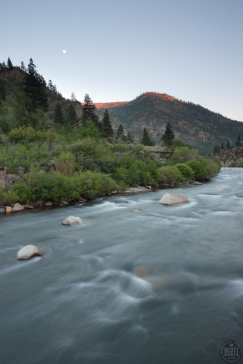 """""""Moon over the Truckee River 1"""" - This moon was photographed at sunset over the Truckee River near the California and Nevada boarder."""