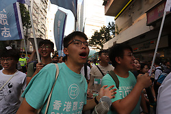 October 1, 2018 - Hong Kong, CHINA - Former student leader of 2014 Umbrella Movement and prominent political activist Joshua Wong participated in the annual anti-China rally on the national day. Oct-1,2018 Hong Kong.ZUMA/Liau Chung-ren (Credit Image: © Liau Chung-ren/ZUMA Wire)