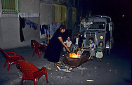 France. Marseille. the renaude , north area suburbs. a barbecue  at the foot of the low income housing  Marseille  France    /cite la Renaude , dans les quartiers nord. barbecue au pied des HLM.  Marseille  France  /R00015/27    L2826  /  P0004031