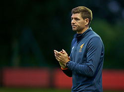 KIRKBY, ENGLAND - Friday, August 25, 2017: Liverpool's Under-18 manager Steven Gerrard during an Under-18 FA Premier League match between Liverpool and Newcastle United at the Kirkby Academy. (Pic by David Rawcliffe/Propaganda)
