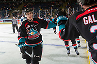 KELOWNA, CANADA - OCTOBER 23:  Jack Cowell #8 of the Kelowna Rockets celebrates a second period goal against the Swift Current Broncos on October 23, 2018 at Prospera Place in Kelowna, British Columbia, Canada.  (Photo by Marissa Baecker/Shoot the Breeze)
