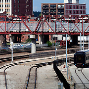 Railways and Pedestrian Bridge behind Kansas City Missouri's Union Station.