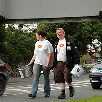 """26/08/05<br />Muire Hopkins, Roscommon, and Dave McDonagh, Sligo, who are members of Young Fine Gael collecting money from motorists in Ennis as part of there walk from Galway to Limerick to raise funds and highlight the work of """"AWARE"""", who work to help combat depression in Ireland. <br />Picture. Cathal Noonan/Press22."""