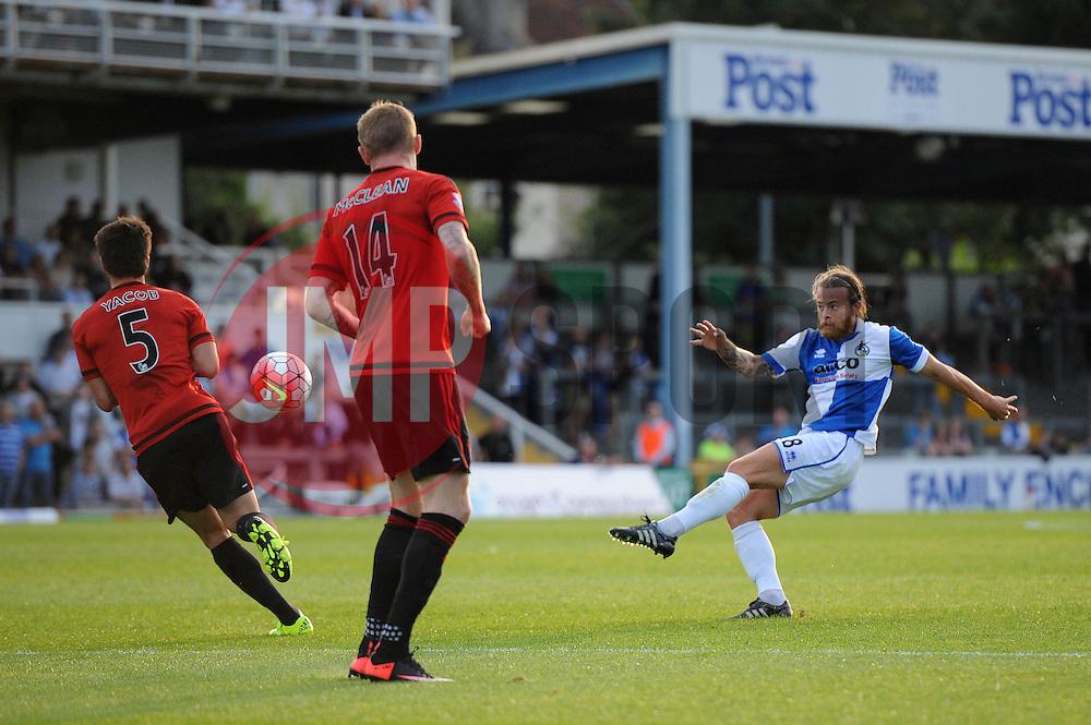 Stuart Sinclair of Bristol Rovers takes a shot - Mandatory byline: Dougie Allward/JMP - 07966386802 - 31/07/2015 - FOOTBALL - Memorial Stadium -Bristol,England - Bristol Rovers v West Brom - Phil Kite Testimonial Match