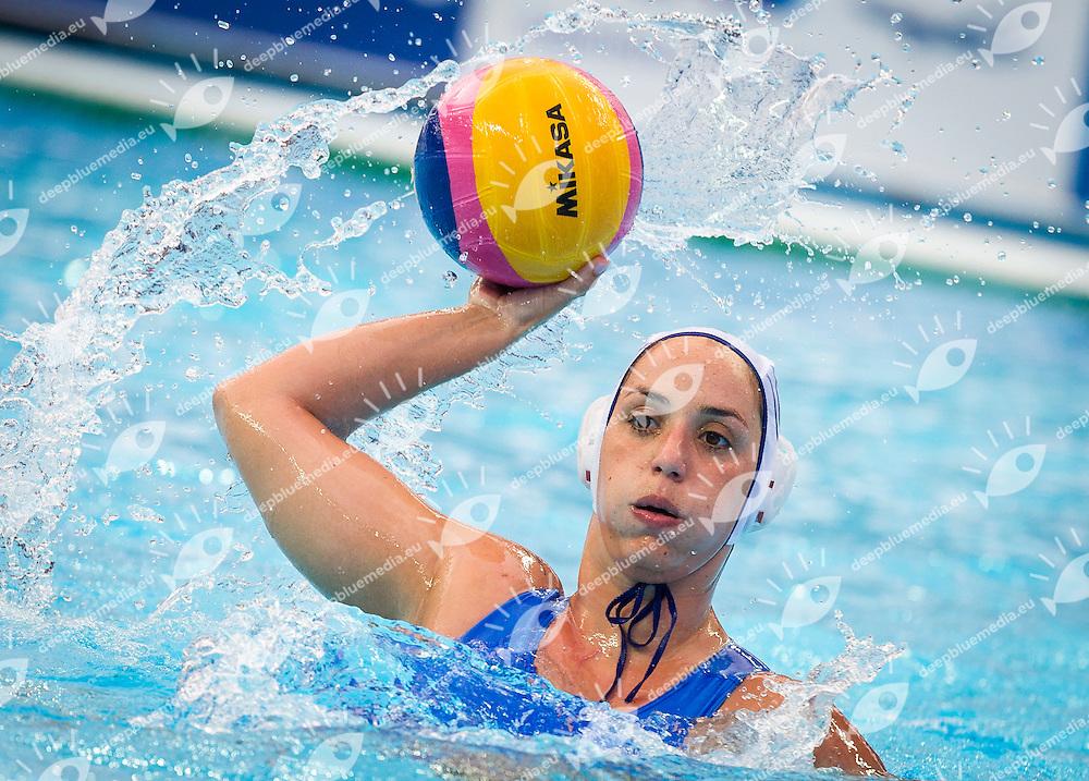 GRE vs RUS<br /> Greece (White) - Russia (Blue)<br /> 5 th - 8th<br /> ROUMPESI Antigoni (C) GRE<br /> Day 13 05/08/2015<br /> Waterpolo Women<br /> XVI FINA World Championships Aquatics<br /> Kazan Tatarstan RUS July 24 - Aug. 9 2015 <br /> Photo Pasquale Mesiano/Deepbluemedia/Insidefoto