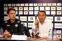 Dominique Arribage / President Olivier Sadran  - 16.03.2015 - Nouvel entraineur - Conference de presse de Toulouse <br />