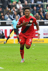 MOENCHENGLADBACH, Oct. 22, 2017  Leon Bailey of Leverkusen celebrates after scoring during the Bundesliga match between Borussia Moenchengladbach and Bayer 04 Leverkusen in Moenchengladbach, Germany, on October 21, 2017. Borussia Moenchengladbach lost 1-5. (Credit Image: © Ulrich Hufnagel/Xinhua via ZUMA Wire)