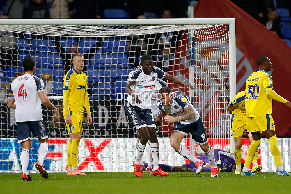 1-1, goal celebration by Daryl Murphy of Bolton Wanderers  during the EFL Sky Bet League 1 match between Bolton Wanderers and AFC Wimbledon at the University of  Bolton Stadium, Bolton, England on 7 December 2019.