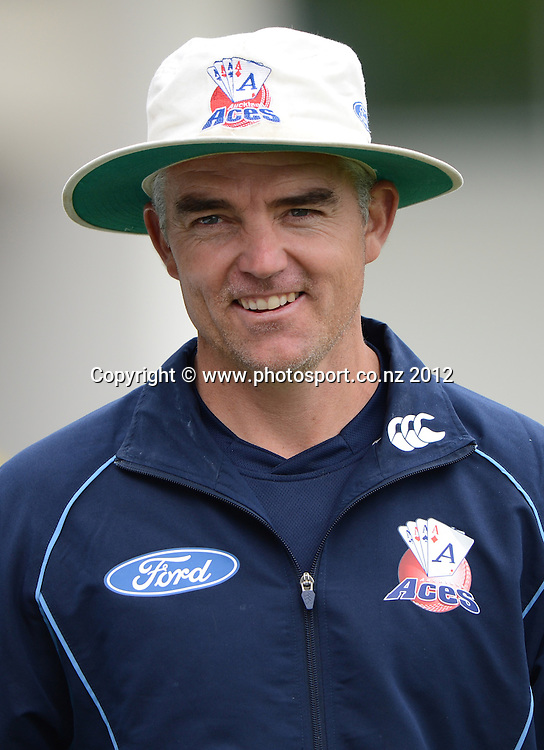 Auckland coach Paul Strang. Plunket Shield Cricket, Auckland Aces v Northern Knights at Eden Park Outer Oval. Monday 12 November 2012. Photo: Andrew Cornaga/Photosport.co.nz