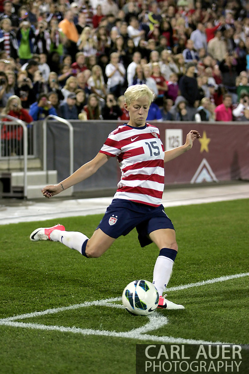 September 19, 2012 Commerce City, CO.  USA m Megan Rapinoe (15) attempts a corner kick during the Soccer Match between the USA Women's National Team and the Women's Australian team at Dick's Sporting Goods Park in Commerce City, Colorado