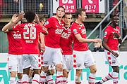 ALKMAAR - 06-11-2016, AZ - Ajax, AFAS Stadion, 2-2, AZ speler Wout Weghorst heeft de 1-0 gescoord, AZ speler Stijn Wuytens (3vr), AZ speler Robert Muhren (2vl), AZ speler Derrick Luckassen