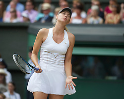 LONDON, ENGLAND - Saturday, July 2, 2011: Maria Sharapova (RUS) looks dejected as she loses a point during the Ladies' Singles Final on day twelve of the Wimbledon Lawn Tennis Championships at the All England Lawn Tennis and Croquet Club. (Pic by David Rawcliffe/Propaganda)