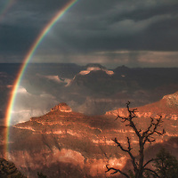 Rainbow from the south rim of the Grand Canyon, Arizona.