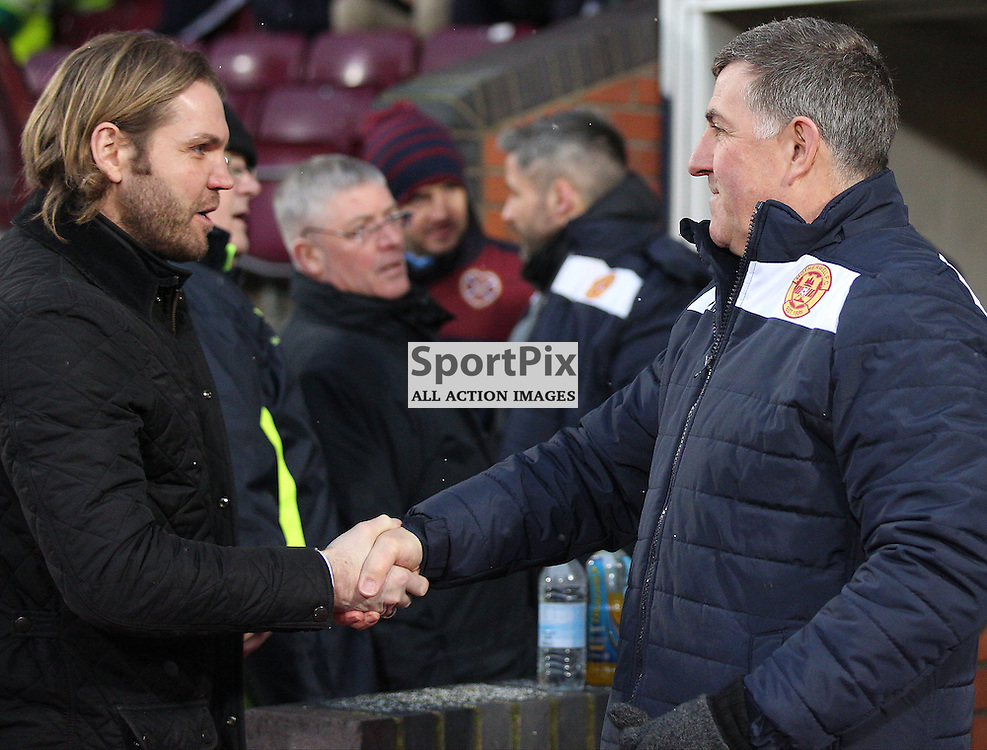 Hearts v Motherwell Scottish Premiership 16 January 2016; manager Robbie Neilson (Hearts) and Motherwell manager Mark McGhee shake hands before the Heart of Midlothian v Motherwell Scottish Premiership match played at Tynecastle Stadium, Edinburgh; <br /> <br /> &copy; Chris McCluskie | SportPix.org.uk