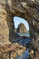 Split Rock seen through Hole in the Wall, Rialto Beach, Olympic National Park Washington