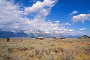 Pioneer cabins on Antelope Flats under the Grand Tetons, Grand Teton National Park, Wyoming USA