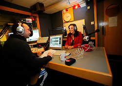 UK ENGLAND MORECAMBE 10FEB10 - Miss England, Katrina Hodge (22) is interviewed during a radio show on Bay Radio in Morecambe, Lancashire. Katrina Hodge is on a week-long tour to promote the beauty pageant and careers at the armed forces in northern England...jre/Photo by Jiri Rezac..© Jiri Rezac 2010