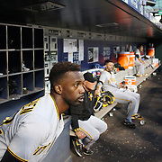 NEW YORK, NEW YORK - June 14:  Andrew McCutchen #22 of the Pittsburgh Pirates watches play as he prepares to bat in the dugout during the Pittsburgh Pirates Vs New York Mets regular season MLB game at Citi Field on June 14, 2016 in New York City. (Photo by Tim Clayton/Corbis via Getty Images)