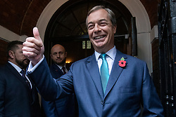 © Licensed to London News Pictures. 01/11/2019. London, UK. Nigel Farage arrives at Emmanuel Centre for the Brexit Party general election campaign launch. Photo credit: Rob Pinney/LNP