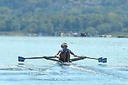 Varese,  ITALY. 2012 FISA European Championships, Lake Varese Regatta Course. ..GRE LW2X, Bow Christina GIAZITZIDOU ... Stroke Alexandra TSIAVOU at the start...11:06:19  Friday  14/09/2012 .....[Mandatory Credit Peter Spurrier:  Intersport Images]  ..2012 European Rowing Championships ..Rowing, European,  2012 010719.jpg.....