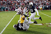 USC Trojans defensive back and running back Adoree' Jackson (2) gets tackled by Penn State Nittany Lions linebacker Jason Cabinda (40) as Jackson runs to the 3 yard line in the second quarter during the 2017 NCAA Rose Bowl college football game against the Penn State Nittany Lions, Monday, Jan. 2, 2017 in Pasadena, Calif. The Trojans won the game 52-49. (©Paul Anthony Spinelli)