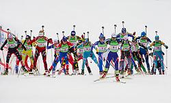 Tina Bachmann of Germany, Kari Eie of Norway, Svetlana Sleptsova of Russia, Olena Pidhrushna of Ukraine, Michela Ponza of Italy, Andreja Mali of Slovenia during the Mixed 2x6 + 2x7,5km relay of the e.on IBU Biathlon World Cup on Saturday, December 19, 2010 in Pokljuka, Slovenia. The fourth e.on IBU World Cup stage is taking place in Rudno polje - Pokljuka, Slovenia until Sunday December 19, 2010. (Photo By Vid Ponikvar / Sportida.com)