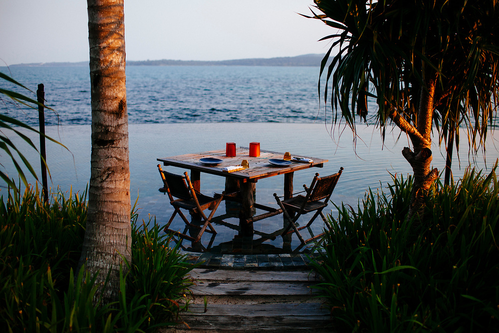 A romantic table set at Song Saa private resort in southern Cambodia.