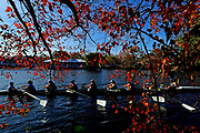 The University of Notre Dame Women's Alumni Eights team makes their way to the starting line during the Head of the Charles Regatta on October 21, 2017 in Boston, Massachusetts.