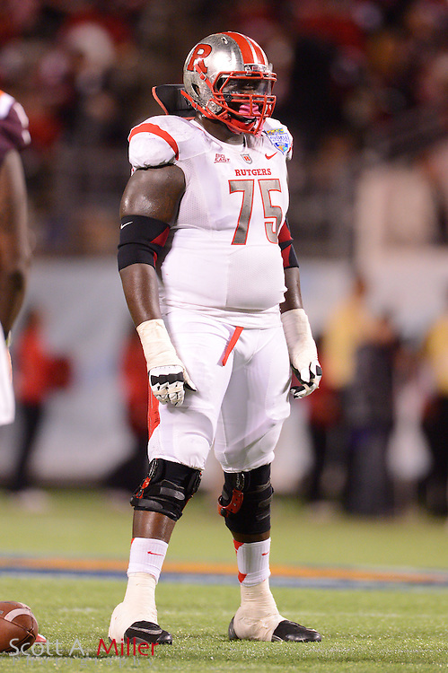 Rutgers Scarlet Knights offensive linesman Antwan Lowery (75) during Rutgers 13-10 overtime loss to the Virginia Tech Hokies in the Russell Athletic Bowl on Dec 28, 2012 in Orlando, Florida. ..©2012 Scott A. Miller..