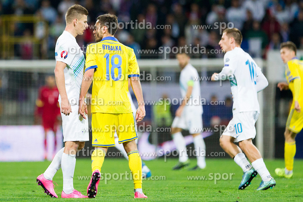 Roman Bezjak (SLO) and Serhiy Rybalka (UKR) during the UEFA EURO 2016 Play-off for Final Tournament, Second leg between Slovenia and Ukraine, on November 17, 2015 in Stadium Ljudski vrt, Maribor, Slovenia. Photo by Urban Urbanc / Sportida