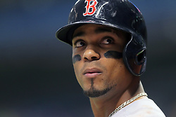 May 22, 2018 - St. Petersburg, FL, U.S. - ST. PETERSBURG, FL - MAY 22: Xander Bogaerts (2) of the Red Sox looks up into the stands during the MLB regular season game between the Boston Red Sox and the Tampa Bay Rays on May 22, 2018, at Tropicana Field in St. Petersburg, FL. (Photo by Cliff Welch/Icon Sportswire) (Credit Image: © Cliff Welch/Icon SMI via ZUMA Press)