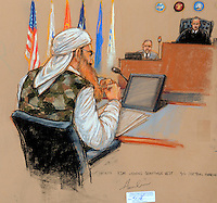 OCTOBER 17, 2012 GUANTANAMO BAY, CUBA.In the third day of 9/11 pretrial hearings, KSM was escorted in at first break wearing a camoflauge vest. Judge Pohl presiding and security officer on his left. Pentagon-approved sketch by Janet Hamlin..Mandatory credit:.Janet Hamlin