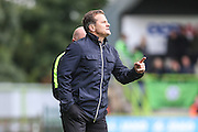 Forest Green Rovers manager, Mark Cooper gives instructions during the Vanarama National League match between Forest Green Rovers and York City at the New Lawn, Forest Green, United Kingdom on 20 August 2016. Photo by Shane Healey.