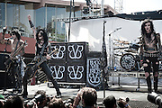 "Black Veil Brides performing at the Sunset Strip Music Festival in Los Angeles, California, August 20, 2011. Black Veil Brides is an American rock band based out of Hollywood, California. The group is composed of Andrew ""Andy Six"" Biersack (lead vocals), Ashley Purdy (bass, backing vocals), Jake Pitts (lead guitar), Jinxx (guitar, violin), and Christian ""CC"" Coma (drums)."