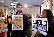 Charlie Hebdo Rally in Trafalgar Square, London, Great Britain <br /> 7th January 2015 <br /> <br /> Rally in support of the French satirical magazine Charlie Hebdo in London's Trafalgar Square supporters of freedom of expression holding pens and 'Je Suis Charlie' placards <br /> <br /> <br /> <br /> Photograph by Elliott Franks <br /> Image licensed to Elliott Franks Photography Services