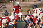 COLLEGE FOOTBALL: Stanford v Oregon State, November 2, 1974 at Stanford Stadium in Palo Alto, California.  Mike Cordova #16, Alex Karakazoff #67.