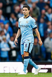 Samir Nasri of Manchester City looks dejected after Mame Biram Diouf of Stoke scores a goal to give his side a 0-1 lead - Photo mandatory by-line: Rogan Thomson/JMP - 07966 386802 - 30/08/2014 - SPORT - FOOTBALL - Manchester, England - Etihad Stadium - Manchester City v Stoke City - Barclays Premier League.
