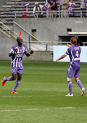 Moussa Sissoko celebrates with Mauro Cetto after the second goal. Toulouse v Lyon (2-0), Ligue 1, Stade Municipal, Toulouse, France, 1st May 2011.